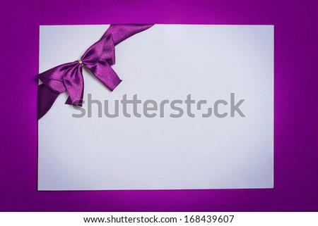 Gift certificate,Coupon, with purple bow (ribbons). violet background - stock photo