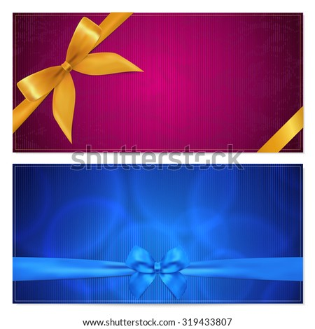 Gift certificate, Voucher, Coupon, Invitation or Gift card template with gold and blue bow (ribbon). Background design for gift banknote, check (cheque). Red (maroon) colors - stock photo