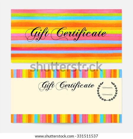 Gift certificate, Voucher, Coupon, money bonus, card template with colorful stripy (stripes, line pattern) background. Vector watercolor with rainbow texture for reward design, ticket, check - stock photo