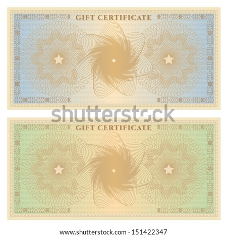 Gift certificate, Voucher, Coupon template with colorful guilloche pattern (watermark). Background for banknote, money design, currency, note, check (cheque), ticket, reward.  - stock photo