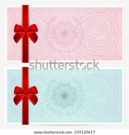 Gift certificate, Voucher, Coupon template with colorful guilloche pattern (watermark), red bow. Pink background for banknote, money design, currency, note, check (cheque), ticket, reward  - stock photo