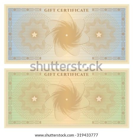 Gift certificate, Voucher, Coupon, ticket template. Guilloche pattern (watermark, spirograph). Background for banknote, money design, currency, bank note, check (cheque), ticket - stock photo