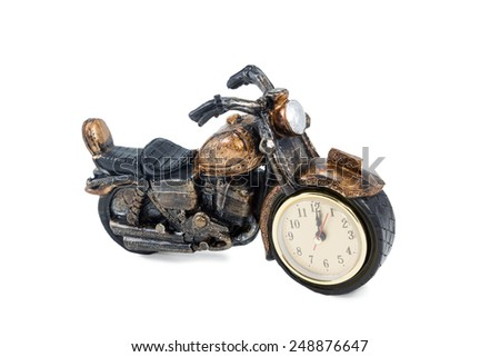 Gift clock a retro motorcycle isolated on white background - stock photo