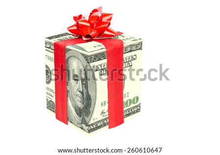 Gift dollar - stock photo