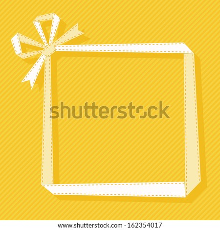 Gift frame made from light paper ribbon with bow. Origami modern simple background. Text box for presentation. Original greeting, invitation card Valentines Day, Christmas, birthday, wedding - stock photo