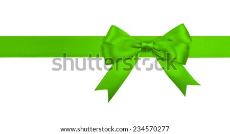 Gift green  ribbon and bow isolated on white background. - stock photo