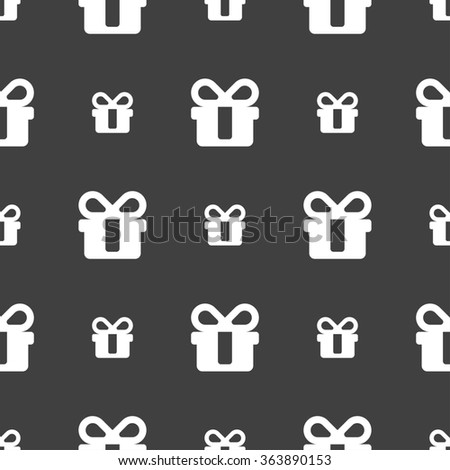 gift icon sign. Seamless pattern on a gray background. illustration - stock photo
