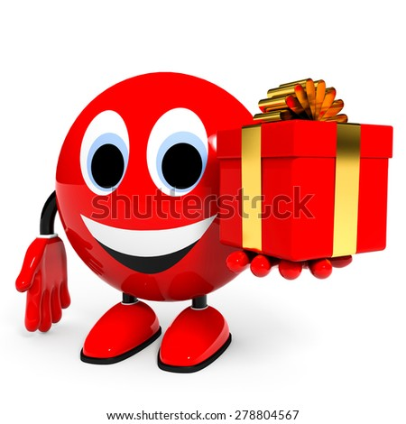 Gift. Illustration with 3d character. - stock photo