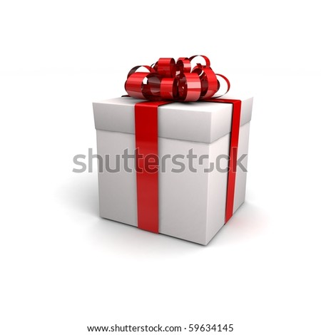 Gift isolated on whate. 3d illustration. - stock photo