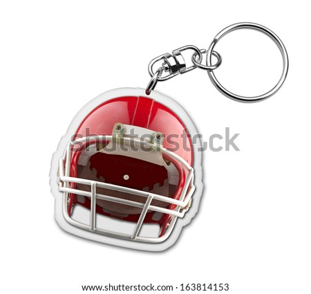 Gift key chain with american football helmet symbol - stock photo