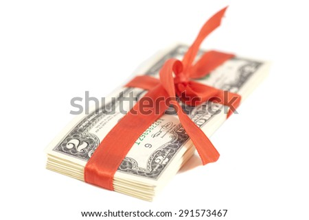 Gift of dollars isolated on white - stock photo