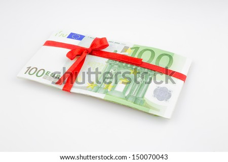 gift of money for celebration, euro-zone currency - stock photo