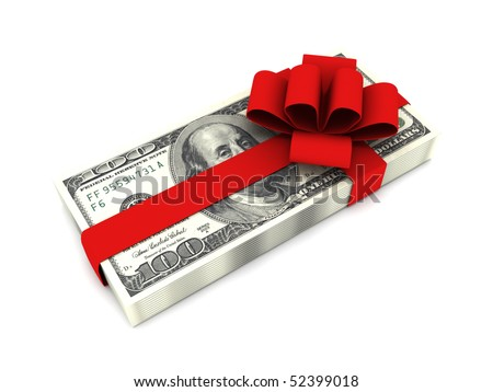 Gift of money. Stack of dollar bills with red ribbon isolated on white background. High quality 3d render. - stock photo