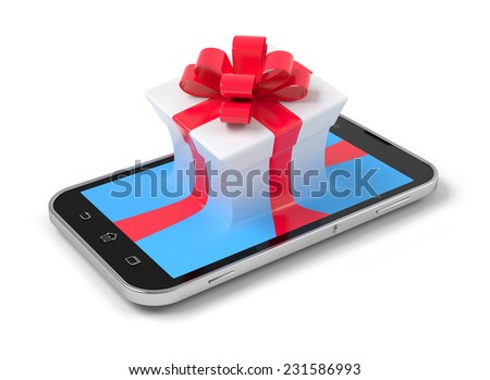 Gift on phone over white. - stock photo