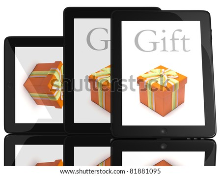 Gift on screen of teblet computer 3D model isolated on white - stock photo