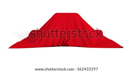 Gift Or Surprise Container Covered With Red Cloth. 3d Render Illustration - stock photo