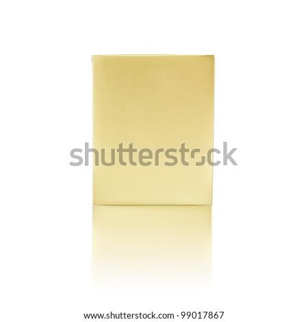 Gift paper box isolated on white background with reflection, gold color, package, recycle - stock photo