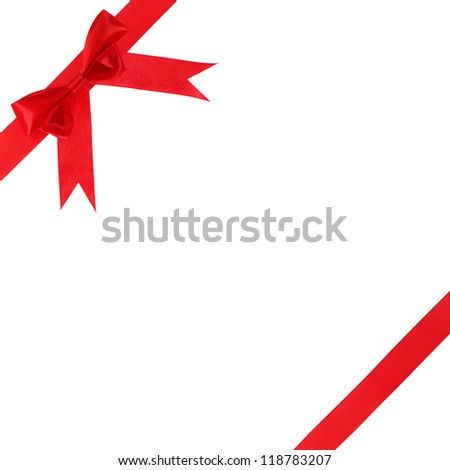 gift pImage of red gift bow and ribbon on a white backgroundackaging ...