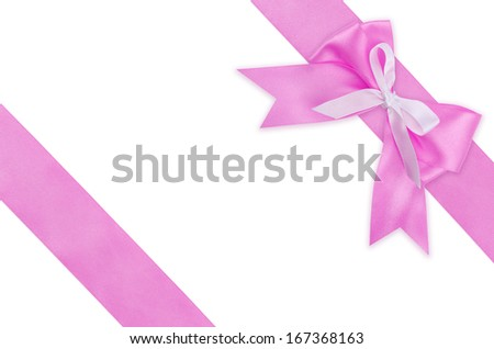Gift pink ribbon and bow isolated on white background. - stock photo