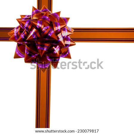 gift ribbon bow isolated on white background - stock photo