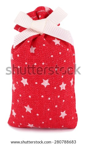 Gift sack cloth bag red with white stars - stock photo