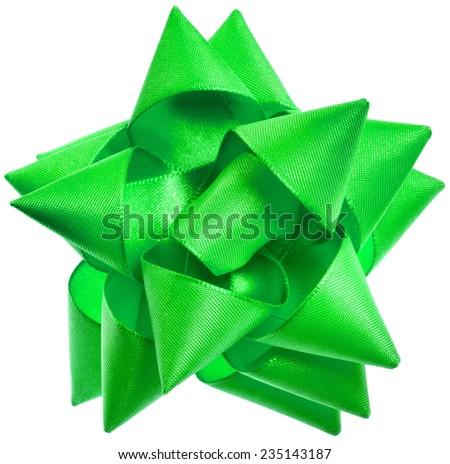 gift shining ggreen ribbon bow isolated on white background - stock photo