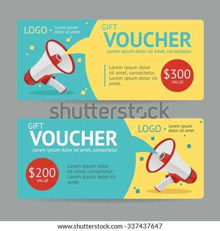 Gift Voucher Template. The announcement of the winning. illustration - stock photo