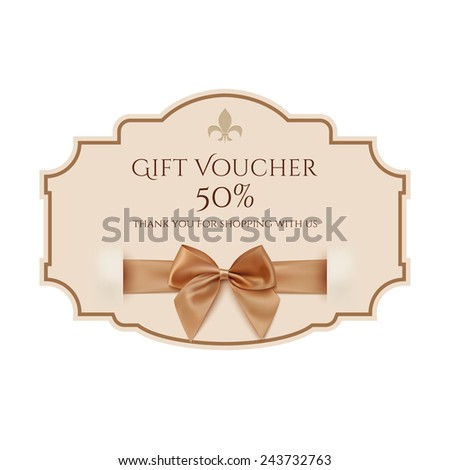 Gift voucher template with golden ribbon and a bow - stock photo