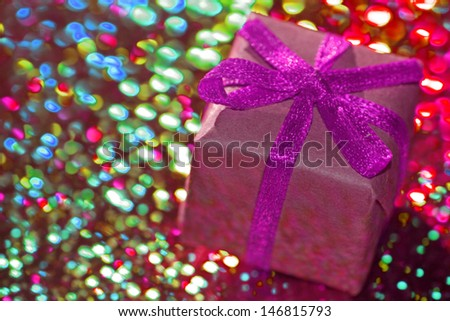gift with a purple loop - stock photo
