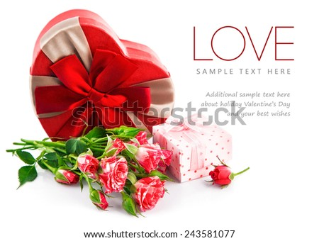 Gift with bunch roses on valentines day. Isolated on white background - stock photo