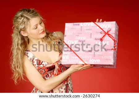 Gift with love - stock photo