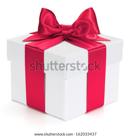 Gift with ribbon and bow isolated on the white background, clipping path included. - stock photo