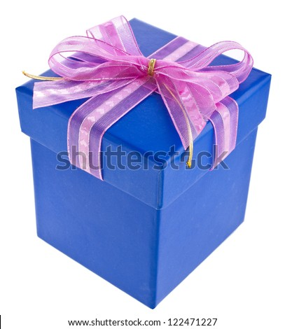 gift wrapped present box with blue satin bow isolated on white - stock photo