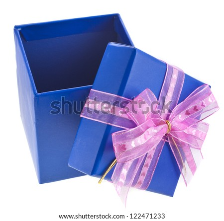 gift wrapped present box with satin bow isolated on white - stock photo