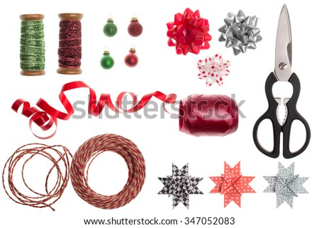 Gift wrapping utensils - stock photo