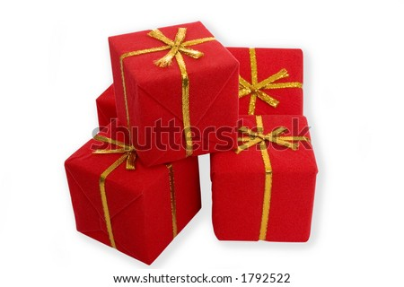 Gifts boxes with copy space - stock photo