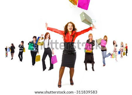 Gifts Ideas Crowd of Shoppers  - stock photo