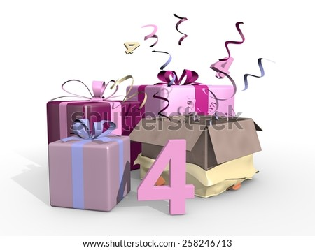 Gifts in pink tones for the fourth - stock photo
