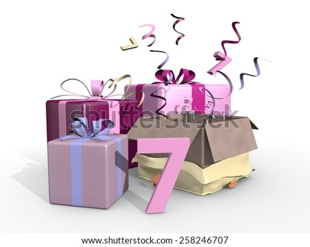 Gifts in pink tones for the seventh - stock photo
