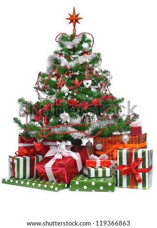 gifts under decorated Christmas tree isolated on white background - stock photo
