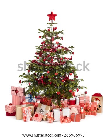 gifts under the Christmas tree isolated on a white background - stock photo