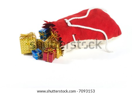 Gifts were scattered from a bag. - stock photo