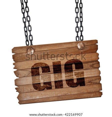 gig, 3D rendering, wooden board on a grunge chain - stock photo