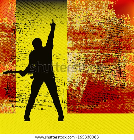 Gig Guide, Background Illustration for Guitar Based Concerts and Music - stock photo