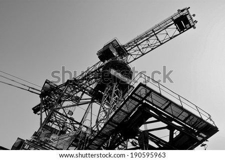 gigantic excavator in the disused lignite opencast Ferropolis - stock photo