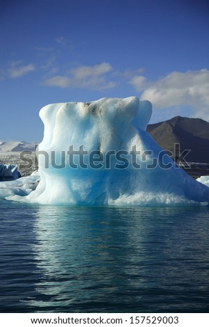 Gigantic iceberg floating on Jokulsarlon lagoon Iceland - stock photo