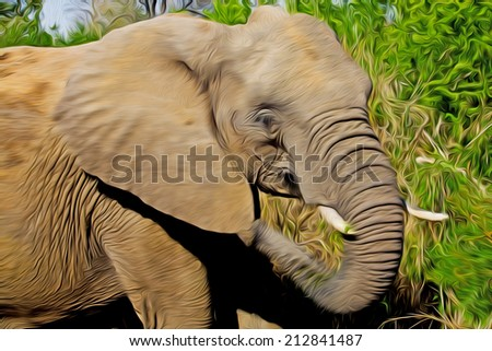 Gigantic male african elephant in the Kruger National Park, South Africa,  stylized and filtered to look like an oil painting - stock photo