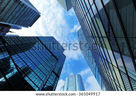 Gigantic skyscraper from below in Hong Kong  - stock photo