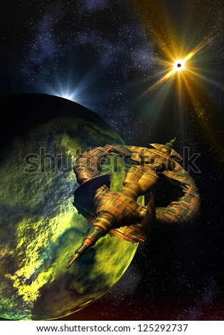 Gigantic spacecraft heading towards distant star far out in the cosmos of another universe. - stock photo