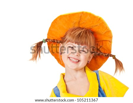 Giggling sweet girl in an orange hat - stock photo